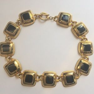 Chunky squares retro statement choker necklace